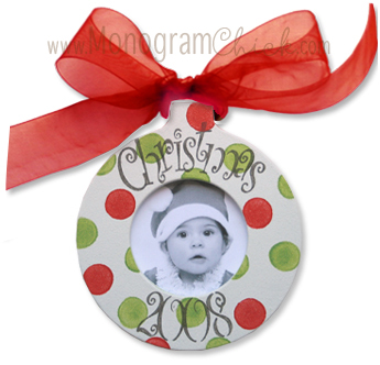 Red and Green Dots Ornament-Personalized Frames, Baby Picture Frame, Personalized Ornament, Christmas Ornament