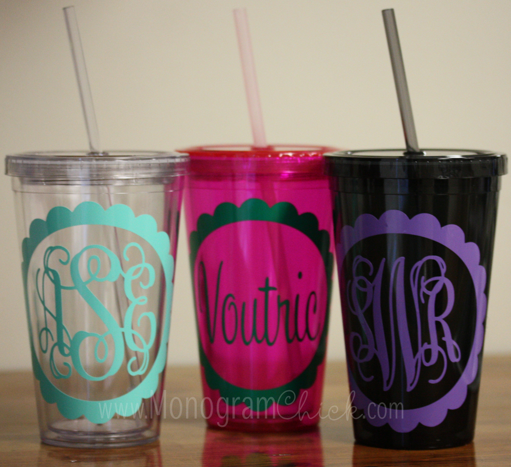 personalized tumbler with straw    black